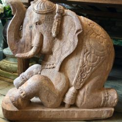Hand Carved Elephant Sculpture, Orissa (one of a pair but sold separately)